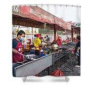 Street Restaurant In Phnom Penh Cambodia Shower Curtain