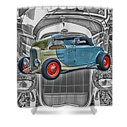 Street Rod In Grill Shower Curtain