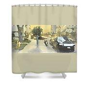 Street Scene Impression Shower Curtain