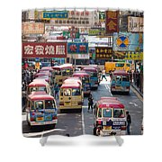 Street Scene In Hong Kong Shower Curtain by Matteo Colombo
