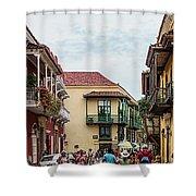 Street Scene In Old Town, Cartagena Shower Curtain