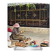 Street Shopkeeper In Lhasa-tibet Shower Curtain