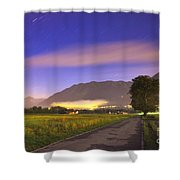Street With A Tree And Mountain Shower Curtain