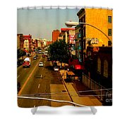 Street With Bus Stop Shower Curtain