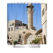 Street With Minaret In Tel Aviv Israel Shower Curtain