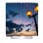 Streetlamp And Cloudy Nightsky Shower Curtain