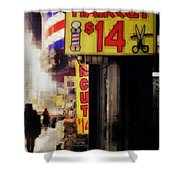 Streets Of New York - Haircut 14 Dollars Shower Curtain