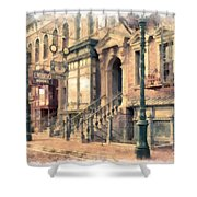 Streets Of Old New York City Watercolor Shower Curtain