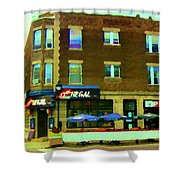 Streets Of Pointe St Charles Centre And Charlevoix Summer La Chic Regal Pub Scenes Carole Spandau Shower Curtain