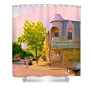 Streets Of Pointe St Charles Summer Scene Connies Pizza Rue Charlevoix Et Grand Trunk Carole Spandau Shower Curtain