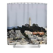 Streets Of San Francisco With Coit Tower Shower Curtain