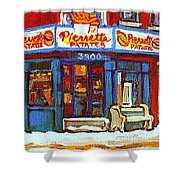 Streets Of Verdun Hockey Game At Famous Verdun Restaurant Pierrette Patates Montreal Hockey Art  Shower Curtain
