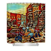 Streets Of Verdun Paintings He Shoots He Scores Our Hockey Town Forever Montreal City Scenes  Shower Curtain