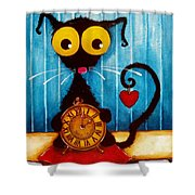 Stressie Cat And The Tick Tock Shower Curtain