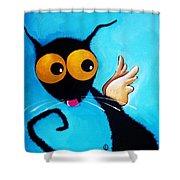 Stressie Cat Angel Shower Curtain