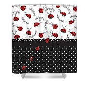 String Of Ladybugs Shower Curtain