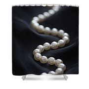 String Of Pearls On Black Silk Shower Curtain