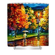 Stroll In The Night - Palette Knife Oil Painting On Canvas By Leonid Afremov Shower Curtain