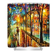Stroll With My Best Friend - Palette Knife Oil Painting On Canvas By Leonid Afremov Shower Curtain