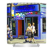 Strolling By The Blue Boy Frozen Yogurt Glacee Cafe Plateau Mont Royal City Scene Carole Spandau   Shower Curtain