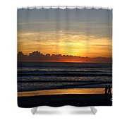 Strolling The Beach During Sunset Shower Curtain