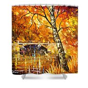 Strong Birch - Palette Knife Oil Painting On Canvas By Leonid Afremov Shower Curtain