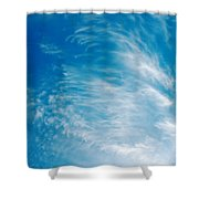 Strong Winds Forming Cirrus Clouds With A Deep Blue Sky. Shower Curtain