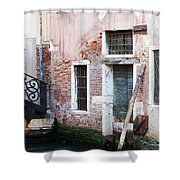 Stucco And Brick Canalside Building Venice Italy Shower Curtain
