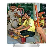 Students Playing Traditional Thai Instruments In Music Class At  Baan Konn Soong School In Sukhothai Shower Curtain