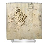 Studies For A Virgin And Child And Of Heads In Profile And Machines, C.1478-80 Pencil And Ink Shower Curtain