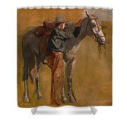 Study For Cowboys In The Badlands Shower Curtain