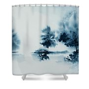 Study In Indigo Shower Curtain