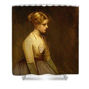 Study Of A Fair Haired Beauty  Shower Curtain by Jean Jacques Henner