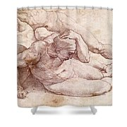 Study Of Three Male Figures Shower Curtain