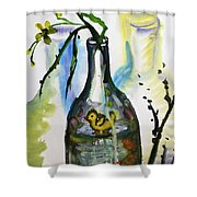 Study - Yellow Ducky In  Bottle Shower Curtain
