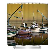 Stunning Fishing Port Shower Curtain
