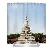 Stupa At The Silver Pagoda, Cambodia Shower Curtain