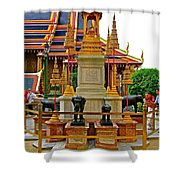 Stupa Surrounded By Elephants At Grand Palace Of Thailand In Ban Shower Curtain