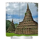 Stupas Of Wat Mahathat In 13th Century Sukhothai Historical Park-thailand Shower Curtain