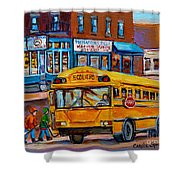 St.viateur Bagel And School Bus Montreal Urban City Scene Shower Curtain