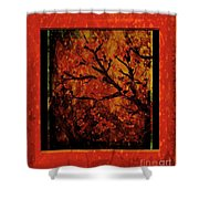 Stylized Cherry Tree With Old Textures And Border Shower Curtain