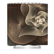 Stylized Philodendron Sepia Shower Curtain