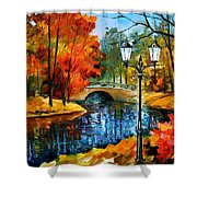 Sublime Park - Palette Knife Oil Painting On Canvas By Leonid Afremov Shower Curtain