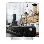 Submarine 319 On Delaware River  Shower Curtain