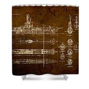 Submarine Blueprint Vintage On Distressed Worn Parchment Shower Curtain