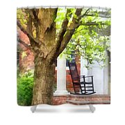 Suburbs - Rocking Chair On Porch Shower Curtain