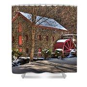 Sudbury Wintery Grist Mill Shower Curtain