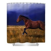 Galloping Horse Painting Shower Curtain