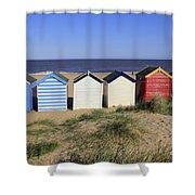 Suffolk Beach Huts Shower Curtain