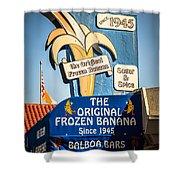 Sugar And Spice Frozen Banana Sign On Balboa Island Shower Curtain